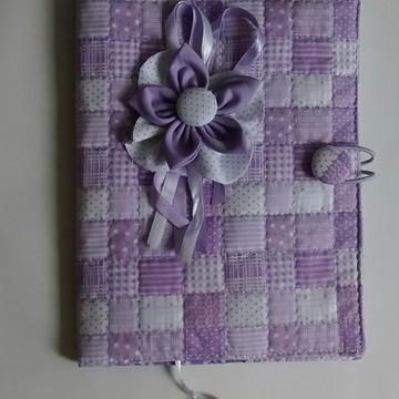 Capa de livro em tecido Lilás