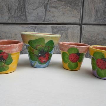 Vasinho de cerâmica com decoupage