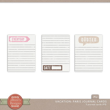 Kit Digital Vacation: Paris Journal Card