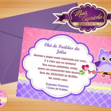 Convite Chá de Fraldas Corujinha