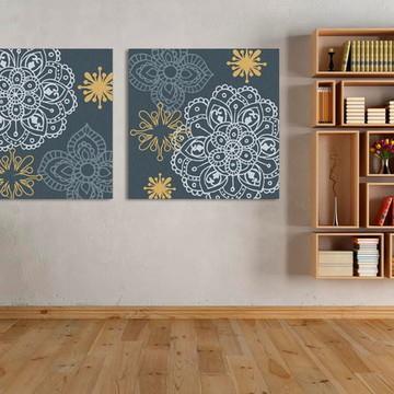 Quadro Pintura em Par de Telas Floral 70x70cm