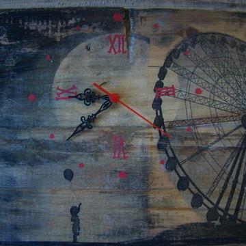 Relógio Roda Gigante - madeira de pallet
