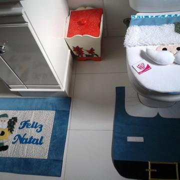 Jogo de banheiro natal azul 4 peças
