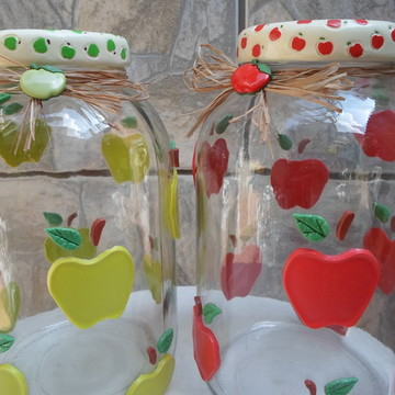 Kit de potes maçãs em biscuit