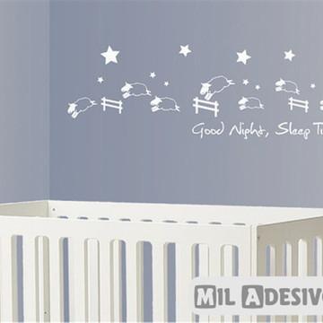 Adesivo para parede de quarto de bebê carneirinhos pulando