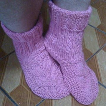 Meia de lã em trico feminina