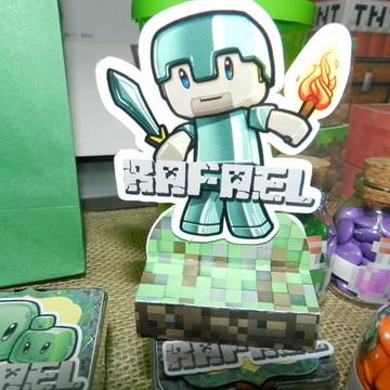 Porta Bis Duplo com aplique Minecraft