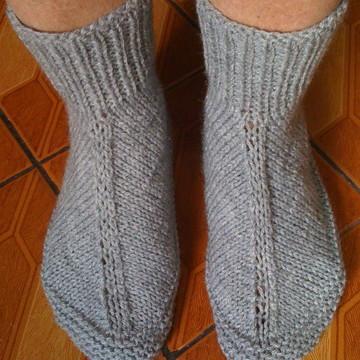 Meia de lã em trico adulto