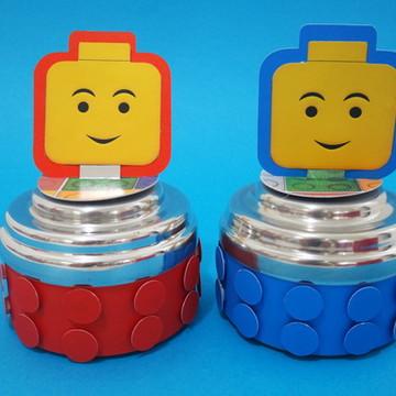 lata de alumínio decorada com lego em 3d