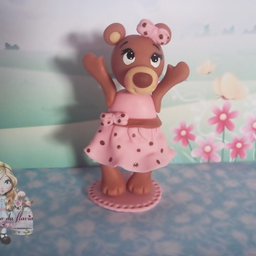 topo de bolo ursa marrom e rosa