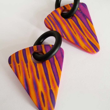 Polymer Clay - Striped earrings