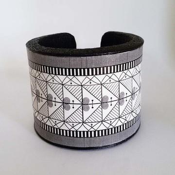 Bracelete em Cerâmica Plástica Zentangle