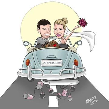 Caricatura para casamento com veículo