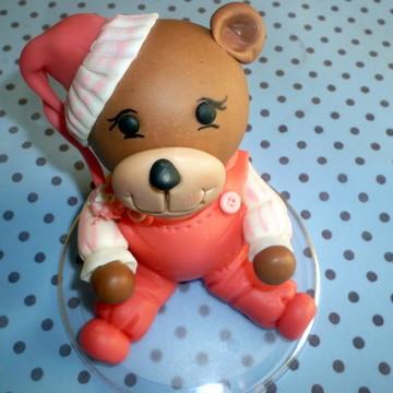 topo de bolo urso rosa