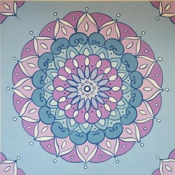Quadro Pintura em Tela Mandala Lilás 70x70cm
