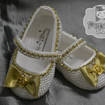 Sapatinho Princesa Dourado CETIM
