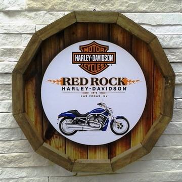 Placa decorativa barril madeira 32 cm