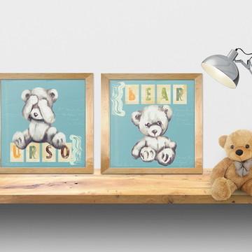 quadros gravura ursos, quarto menino