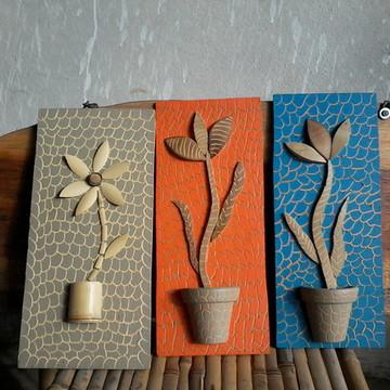 3 quadro madeira e bambu