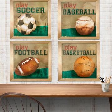 conjunto esportes - quadros meninos