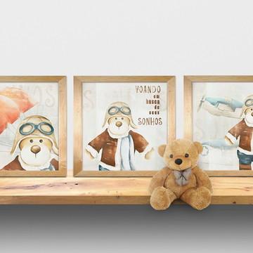 trio urso aviador quadros 28x28 cm