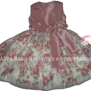 Vestido Festa Floral Rosê Luxo