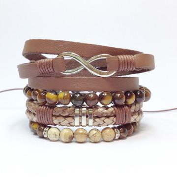 Kit pulseiras masculinas infinito