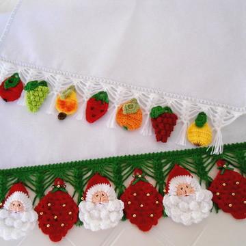2 Panos de Prato Frutas e Papai Noel
