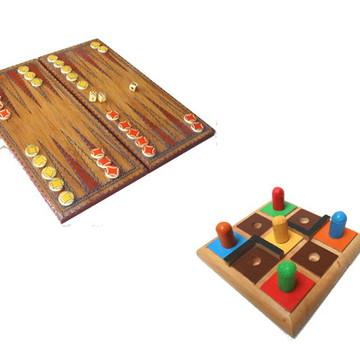 Kit 2 jogos Gamão / labirinto