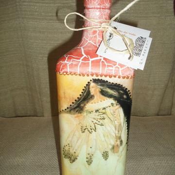 Garrafa em craquelê decorada Xamanica