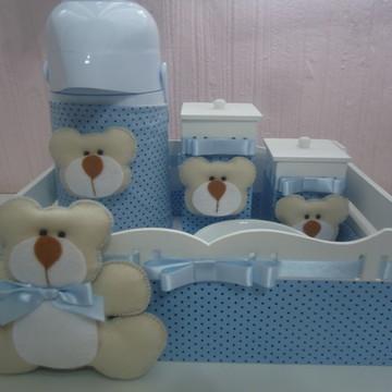 Kit Higiene Bebê Urso Azul & Marrom