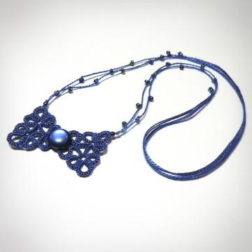 Colar Charme - Cor Azul Safira