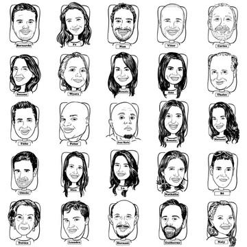 Caricaturas digital rosto e mome formandos