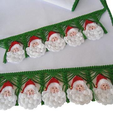 2 Panos de Prato Natal Papai Noel Crochê