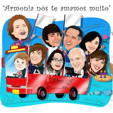 Caricatura digital família no ônibus-Preço por pessoa