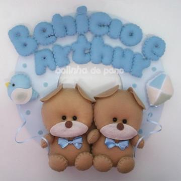 Enfeite Porta Maternidade Ursos Gêmeos