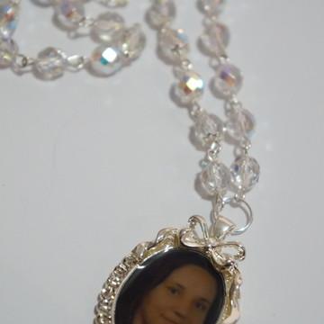 Medalha buquê personalizada cristais
