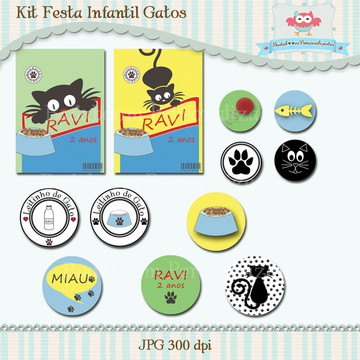Kit Festa Infantil Gatos (arte)
