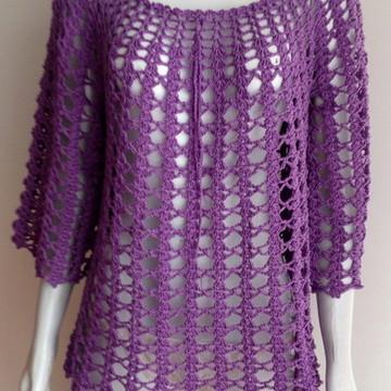 Blusa em crochet. Na cor lilás