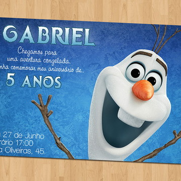 Convite - Tema Frozen Olaf