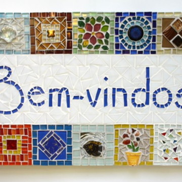 Quadro Bem-vindos em mosaico