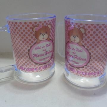 Caneca Chá de Bebê (menina-poá c/marrom)