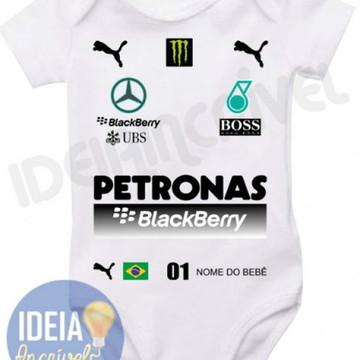 BODY INFANTIL CORRIDA F1 EQUIPE MERCEDES