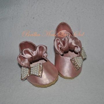 Sapato laço perolas e cristais Swarovski