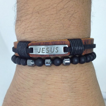 Kit pulseiras masculinas onix Jesus