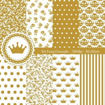 Kit Papel Digital Festa Dourado