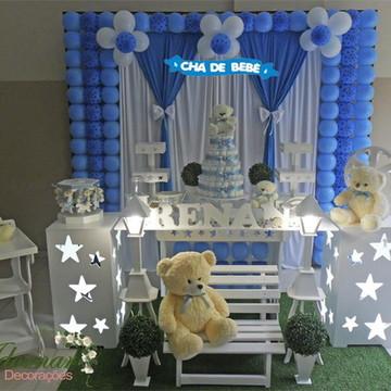 Aluguel Decoração Chá de Bebe Azul Menino Ursos Chá Fraldas