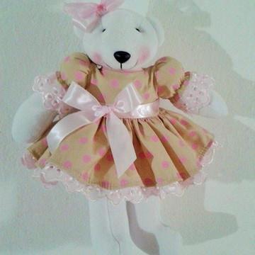 Ursa de plush bege e rosa 30 cm