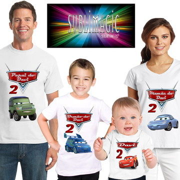 Kit 4 Camisetas Carros