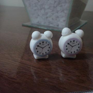 Miniatura relógio despertador em biscuit